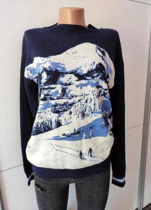 Свитер джемпер кофта синий с рисунком гор альпы 98 next 12
