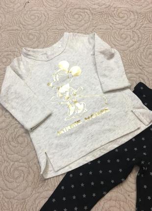 Кофта джемпер с длинными рукавом с золотым рисунком микки маус h&m для девочек 2-3 года