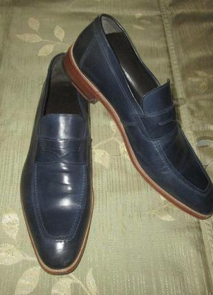 Кожаные туфли синие лоферы navyboot р. 46