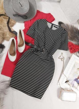 Шикарное стильное прямое платье в полоску