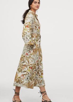 Платье миди в принт с поясом-завязкой h&m
