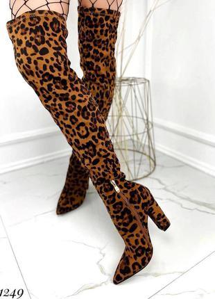 Ботфорты сапоги выше колена на каблуке с острым носком леопард