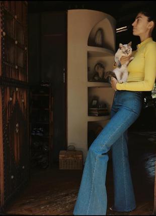 Stoned immaculate джинсы новая коллекция клеш от колена высокая посадка талия широкие джинсы штаны