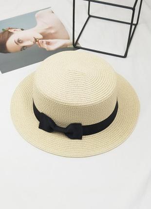 13-68/1 канотье шляпа женская летняя от солнца шляпка панамка с дефектами