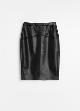 Новая юбка-карандаш из эко-кожи спідниця олівець reserved zara