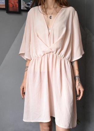 Пудрово-персиковое платье большой размер boohoo