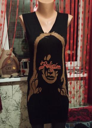 Крутое оригинальное платье рок панк готика неформальный стиль туника