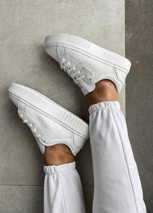 Adidas white x женские белые брендовые стильные кроссовки из натуральной кожи жіночі трендові шикарні білі кросівки адидас із натуральної шкіри