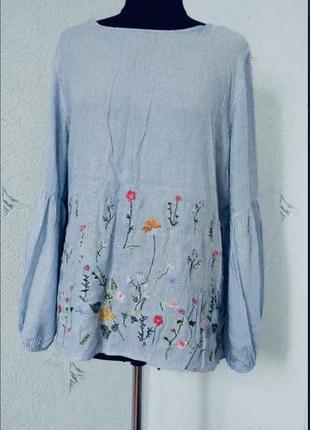 Красивая рубашка натур.с вышивкой большой размер 20