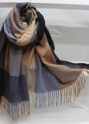 Кашемировый тёплый шарф палантин модный