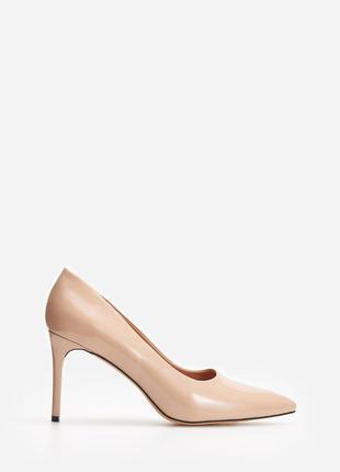 Туфли лодочки женские бежевые пудровые лаковые размер 38 reserved туфлі пудрові бєж бєжеві світлі