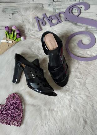 Босоножки женские кожаные лаковые basconi черные на каблуке