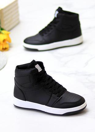 Женские высокие черные кроссовки-хайтопы