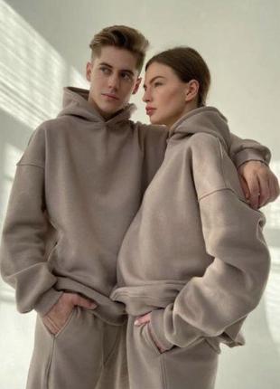 Спортивный костюм женский мужской парный унисекс джогеры худи тёплый очень осенний
