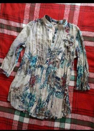 Подовжена блуза рубашка сорочка пліссе