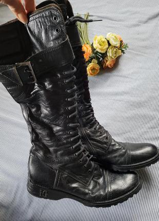 Крутые высокие сапоги ботинки берцы кожа