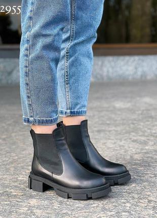 Рр 36-40.чëрные  демисезонные ботинки из натуральной кожи