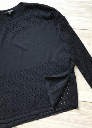 Чёрный ассиметричный свитер свитшот с разрезами