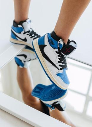 Кроссовки высокие белые с синим размер
