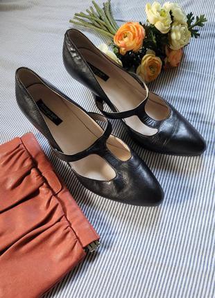 Туфли лодочки кожа каблук мериджейн
