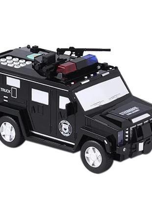 Clikshop детский сейф с кодом и отпечатком пальца в виде полицейской машины cash truck