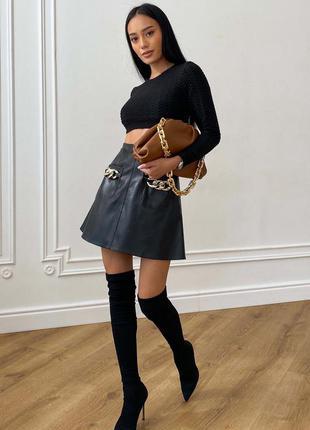 Стильная юбка из эко-кожи на флисе * отличное качество