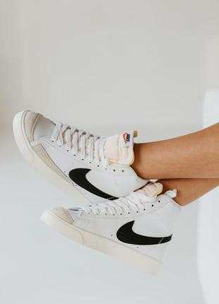 Кроссовки высокие белые кожаные blazer mid размер. 36-42