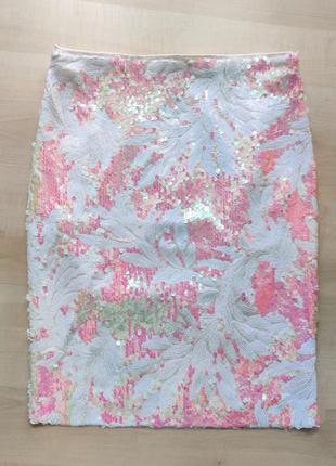 Женственная юбка в пайетках с тропическим узором 💗 с замерами