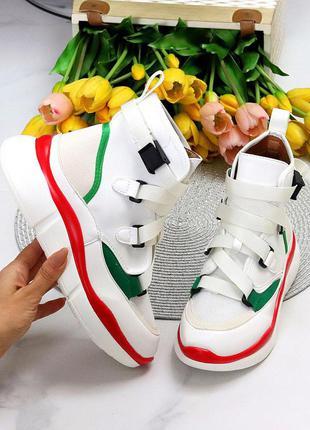 Ультра модные белые спортивные миксовые женские ботинки кеды мультиколор 11633