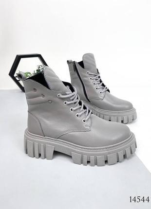 Женские ботинки, кожаные ботинки, серые ботинки