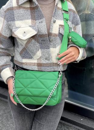 Зелёная сумка кожзам кросс боди стёганая с кошельком и цепочкой