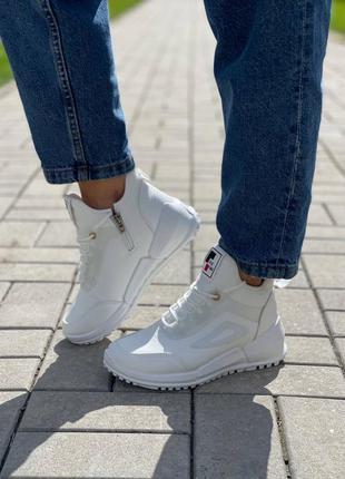 Женские кроссовки, белые кроссовки, кожаные кроссовки