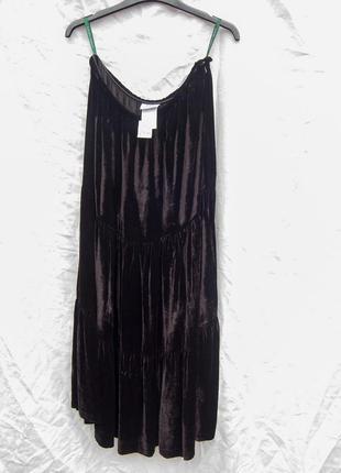 Бархатная юбка черная из вискозы и шелка винтажная спідниця вінтаж