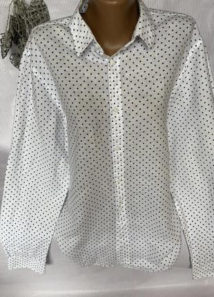 Стильная рубашка в горох , лён и хлопок