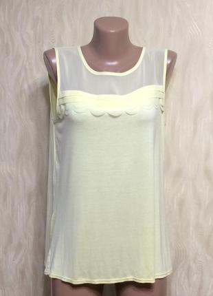 Натуральная блуза футболка лимонного цвета bhs, р.16