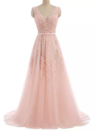 Платье длинное в пол свадебное вечернее розовое расшитое жемчугом с шлейфом
