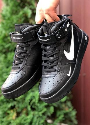 Кроссовки женские nike air force черные белые термо / кросівки жіночі найк аир форс чорні кроссы