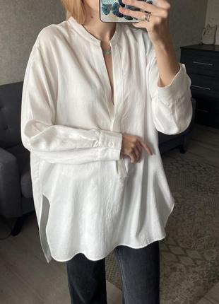 Базовая натуральная рубашка zara из недавних коллекций