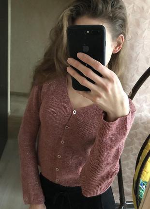 Розовый кардиган кофта на пуговицах блестящий люрексовая