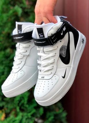 Кроссовки женские nike air force белые черные термо / кросівки жіночі найк аир форс білі кроссы