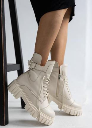 Женские ботинки осень-зима мех (молочные)