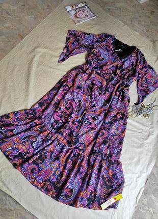 Новое нарядное платье принт турецкий огурец uk 22