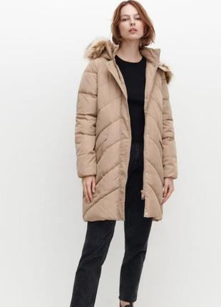 Утепленная бежевая куртка демисезонная еврозима reserved