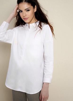 Белая рубашка с жемчугом оверсайз