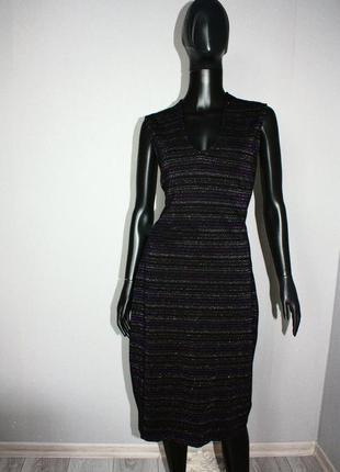 Платье трикотаж в облипку черное в тонкую полоску люрекса без рукавов (3955)