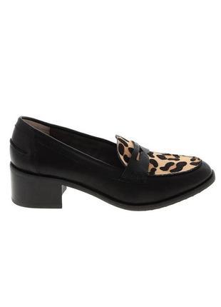 Шикарные кожаные лоферы, демисезонные туфли с леопардовым принтом