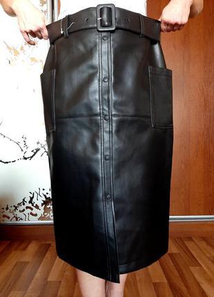 Новая черная юбка миди из экокожи на кнопках