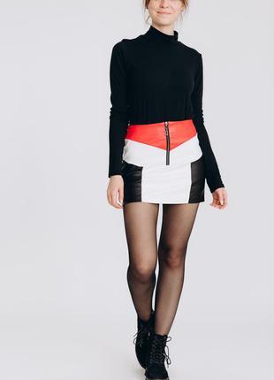 Кожаная юбка мини , юбка с высокой посадкой , кожаная юбка 44 размер