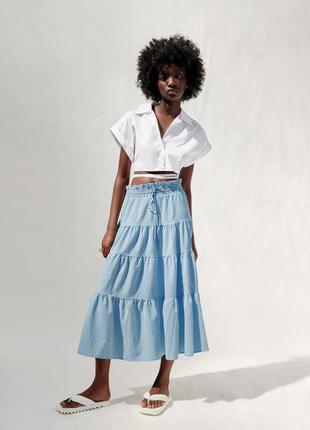 Длинная юбка с воланами zara новые коллекции