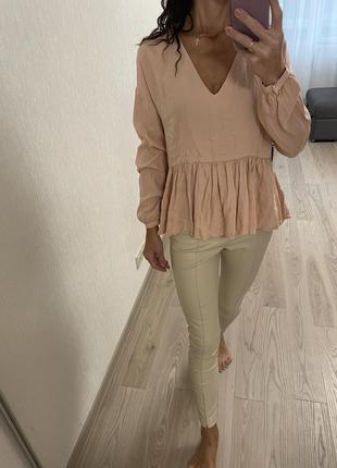 Блузка пудровая оверсайз